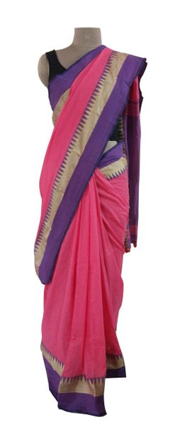 Exclusive Festival Temple Border Pink Khadi Cotton Saree Khadi8