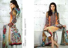 Designer Pakistani Replica Off White French Crepe Printed Dress Material SUR6