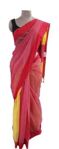 Exclusive Festival Plain Border Red Yellow Khadi Cotton Saree Khadi1