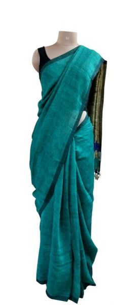 Exclusive Turquoise Linen By Linen 80 Count Saree 5