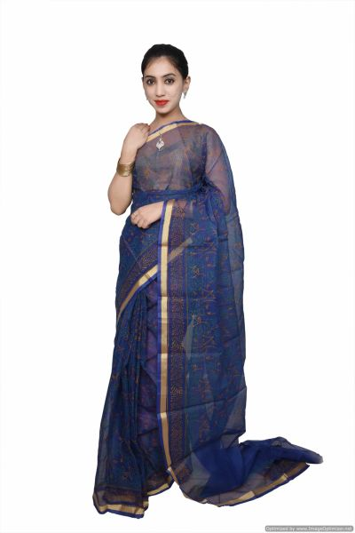 Designer Blue Gold Border Kota Cotton Printed Saree KCS70