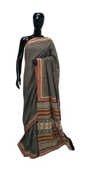 Exclusive Bagru Hand Block Printed Black Cotton Saree NV01