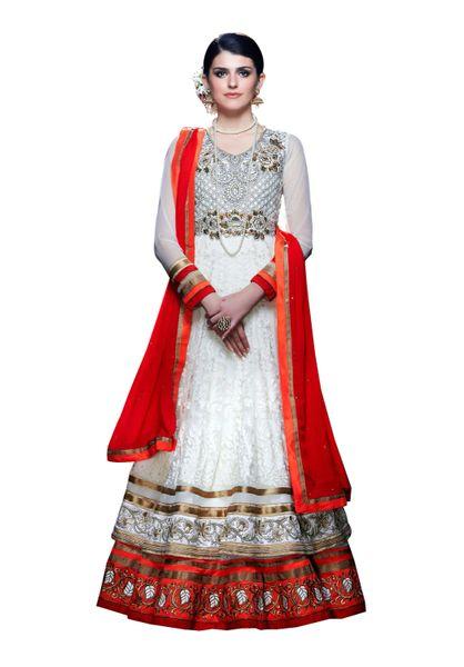 Designer Long White Soft Net Anarkali SC310