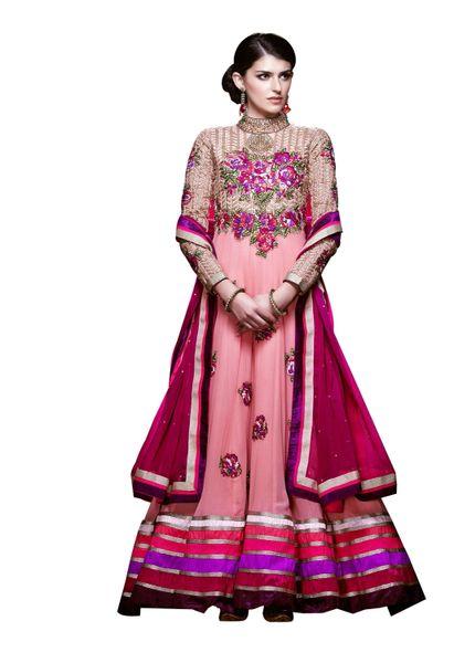 Designer Long Pink Georgette Anarkali SC305