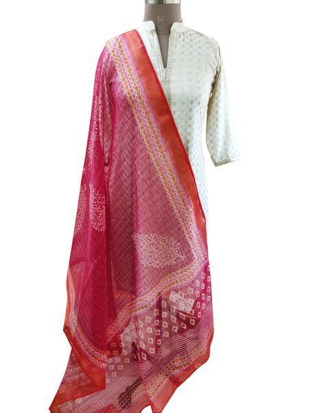 Designer Pink Patola Printed Kota Cotton Dupatta