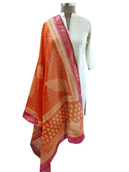 Designer Orange Patola Printed Kota Cotton Dupatta