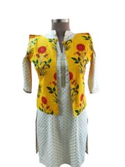 Yellow Cotton Block Printed Ethnic Jacket