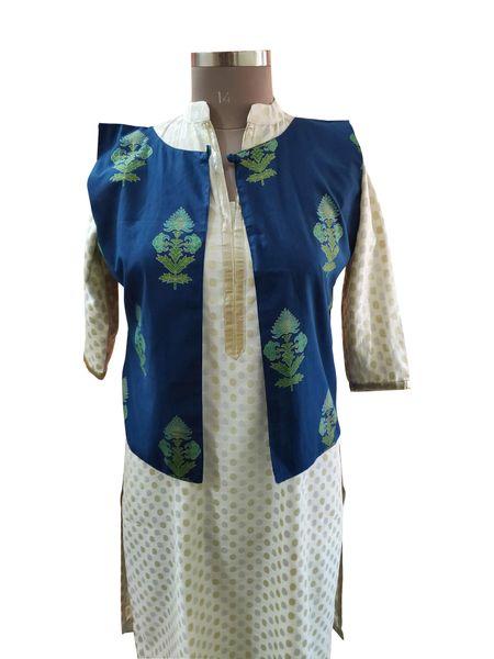 Blue Cotton Block Printed Ethnic Jacket