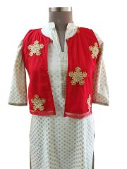 Red Net Embroidered Ethnic Jacket Shrug