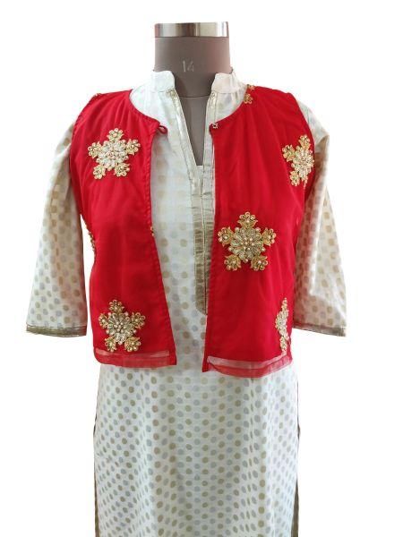 Red Net Embroidered Ethnic Jacket Shrug