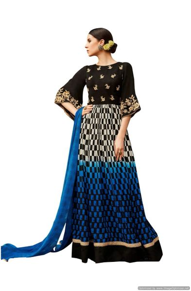 Designer Georgette Embroidered Gown Dress Material (Semi Stitched_Blue Black)
