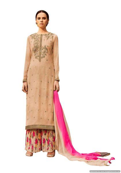 Designer Georgette Embroidered Dress Material (Semi Stitched_Beige Multi)