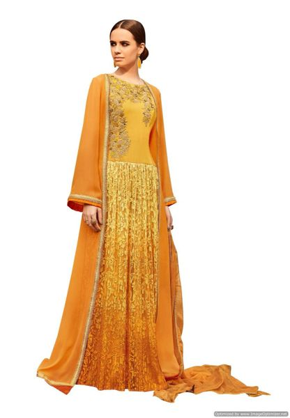 Designer Georgette Brasso Embroidered Shrug Gown Dress Material (Semi Stitched_Yellow)