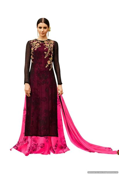 Designer Georgette Embroidered Gown Style Dress Material (Semi Stitched_Pink Black)