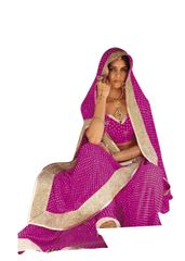 Designer Pink Bandhej Bandhini Gold Border Georgette Saree