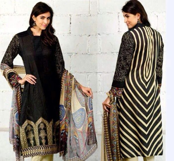 Designer Pakistani Replica Black French Crepe Printed Dress Material SUR8