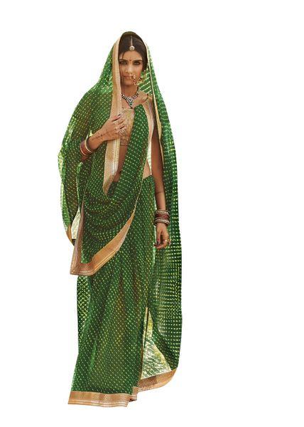 Designer Green Bandhej Bandhini Gold Border Georgette Saree