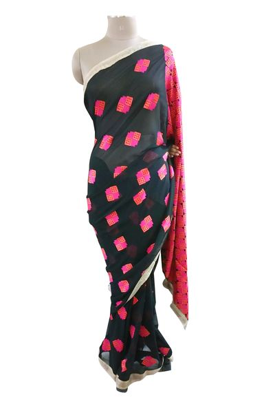 Black Georgette Saree with Phulakari Embroidery PHS94