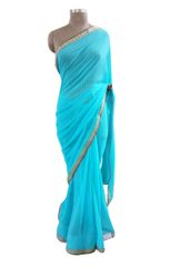 Turquoise Green Faux Georgette Lacer Work saree