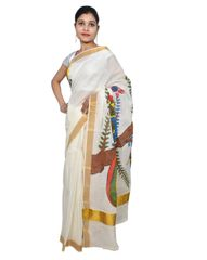 Designer Hand Painted Peacock Motif Kerela Cotton Saree KHP01