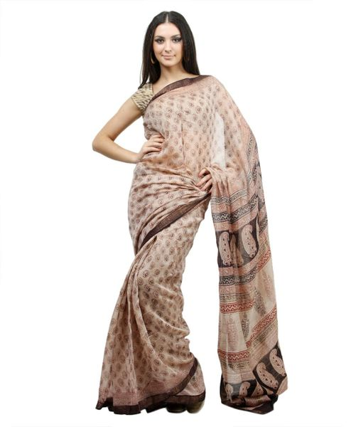 Block Printed Beige Maheshwari Mercerised Cotton saree