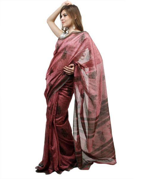 Onion Pink Dupion Printed Cotton Silk saree