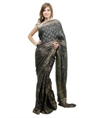 Black Khaddi Georgette Silk Weaven Saree
