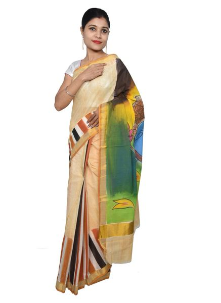 Designer Hand Painted Buddha Motif Kerela Cotton Saree KHP03