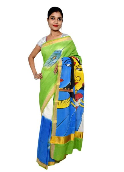 Designer Hand Painted Radha Krishna Kerela Cotton Saree KHP02