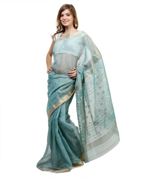 Light Turquoise Gold Weave Chanderi Saree