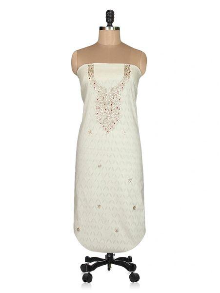Jaipuri Cotton Gotta Patti work Off White Kurti Kurta Fabric GP33
