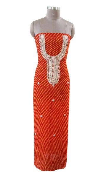 Jaipuri Lehariya Georgette Gotta Patti work Orange Kurti Kurta Fabric GP82