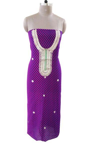 Jaipuri Lehariya Georgette Gotta Patti work Purple Kurti Kurta Fabric GP79