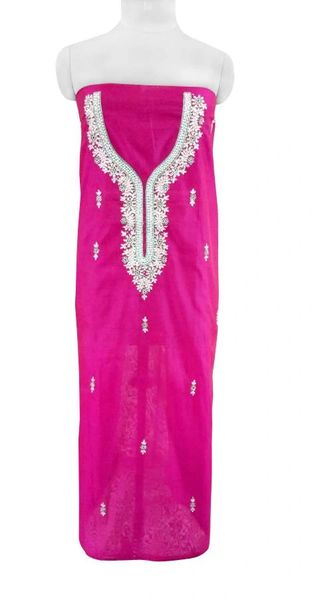 Jaipuri Kundan Hand Work Purple Chanderi Silk Kurti Kurta Fabric GP43