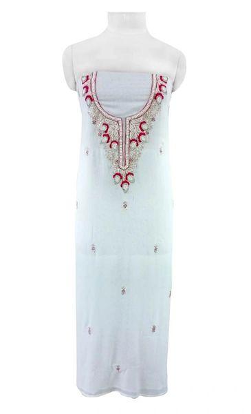 Jaipuri Kundan Hand Work Gazari Pink Georgette Kurti Kurta Fabric GP45