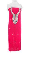 Jaipuri Kundan Hand Work Gazari Pink Georgette Kurti Kurta Fabric GP40