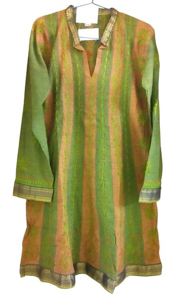 Green South Cotton Chikankari Lucknowi Kurta