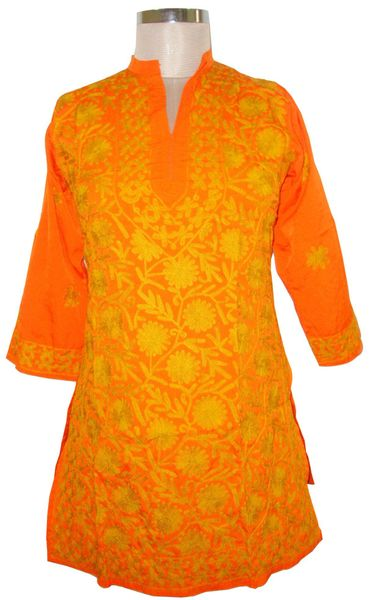 Orange Kamas Crepe Kashmiri work Kurti