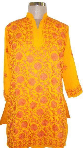 Yellow Kamas Crepe Kashmiri work Kurti