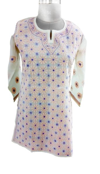 Cream Cotton Chikankari Lucknowi Kurta
