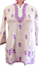 White Chikankari Lucknowi Top