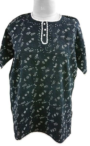 Black Cotton Chikankari Lucknowi Top (Plus Size_5XL)