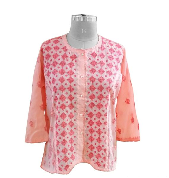 Peach Cotton Chikankari Lucknowi Top (Plus Size_3XL)
