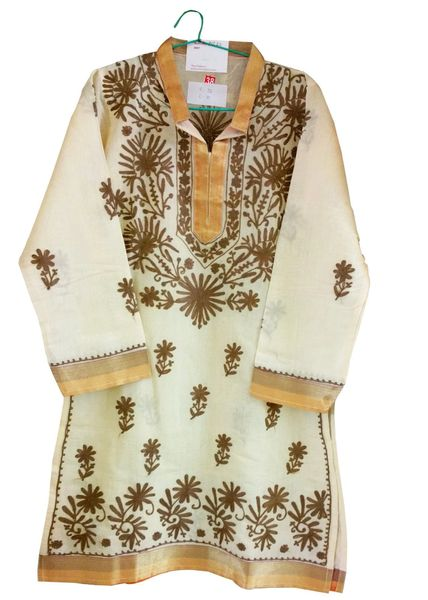 Yellow Chanderi Cotton Chikankari Lucknowi Kurta