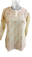 Beige Cotton Chikankari Lucknowi Top