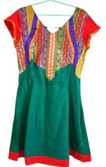 Green Cotton Brocade Neck Kurti