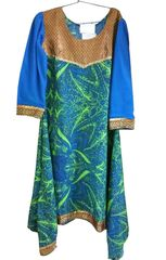 Green Crepe with Lining asymetrical Kurta