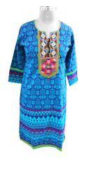 Blue Cotton Neck Work Long Kurta
