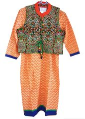 Orange Cotton Kurta With Embroidered Jacket