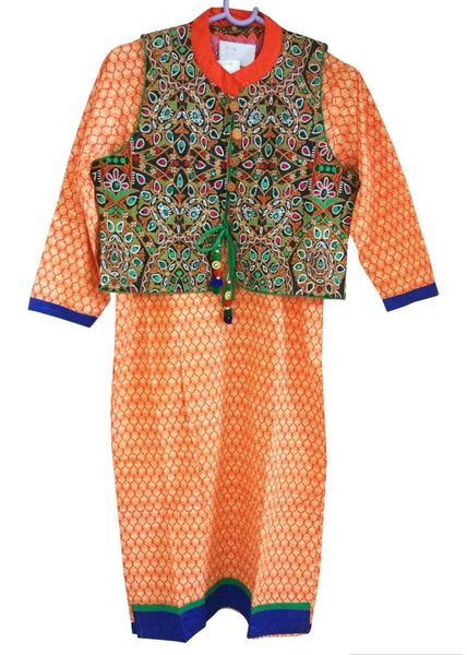 Orange Cotton Kurta With Embroidered Jacket